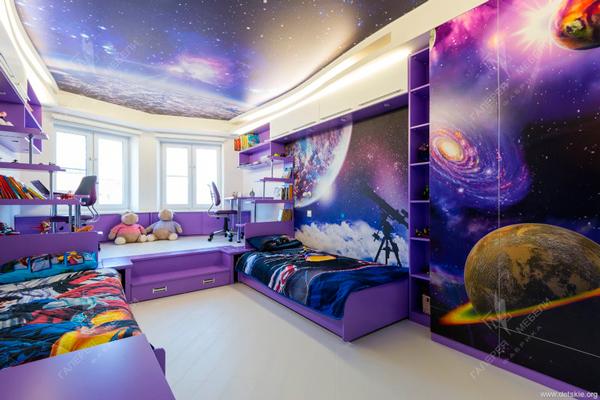 дизайн детской комнаты в стиле космос 3
