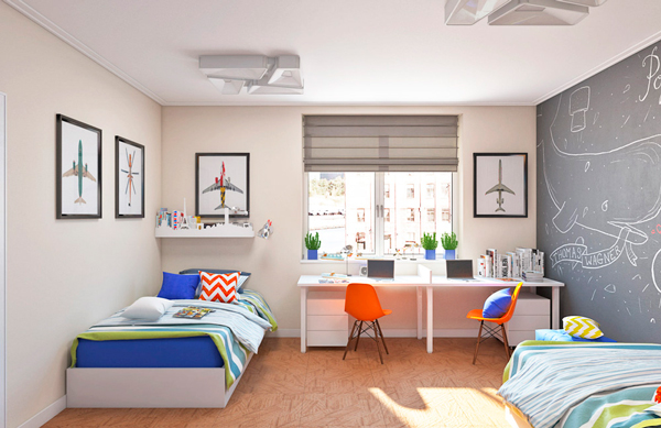 детская комната для мальчиков с самолетами