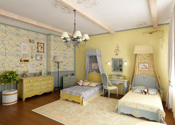 красивый интерьер в стиле прованс для двух детей 3