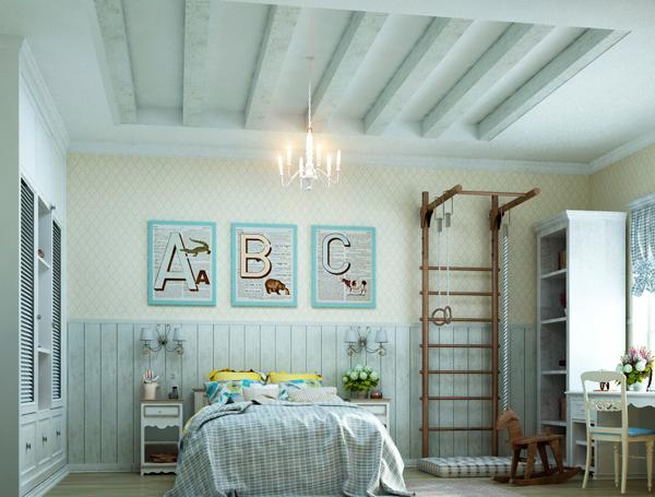 интерьер с шветской стенкой в стиле Прованс