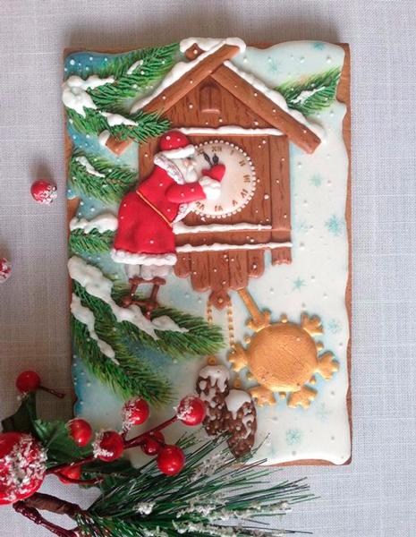 красивый рисунок на новогоднем печенье
