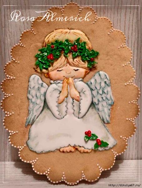 фото новогоднего печенья с ангелом
