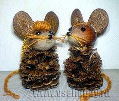 мыши из желудей и шишек