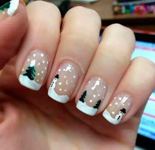 идеи новогоднего маникюра: снеговик
