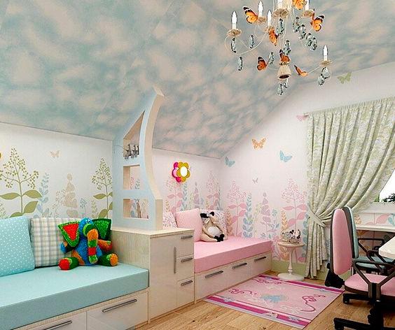дизайн детской комнаты для двух разнополых детей с фото 1