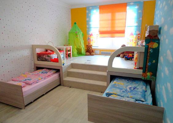 зонирование в маленькой комнате для разнополых детей