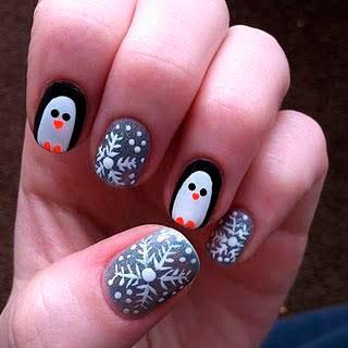 идеи новогоднего маникюра: пингвины