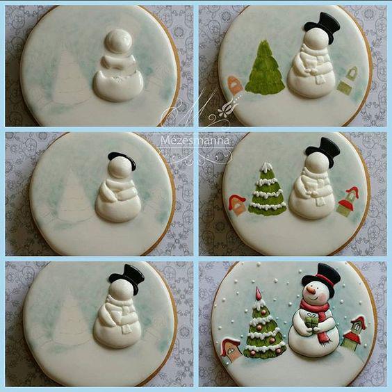 новогоднее печенье в форме снеговиков