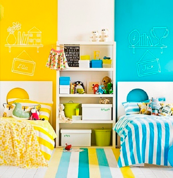 различная краска в комнате мальчика и девочки