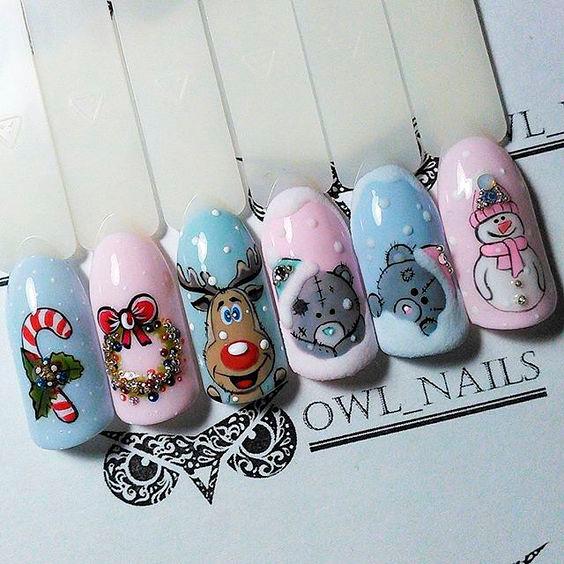 Красивые рисунки на ногтях к новому году