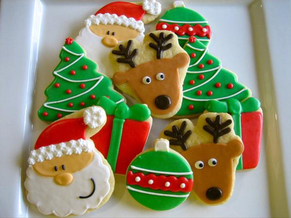 профессиональная разноцветная глазурь для новогоднего печенья