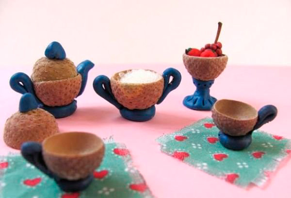 маленькие чайные сервизы из желудей