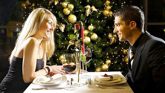 romantic dinner for a husband as a gift for the New Year