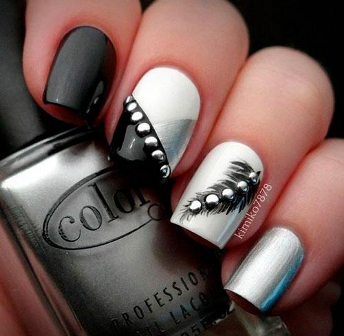 дизайн ногтей белый со стразами