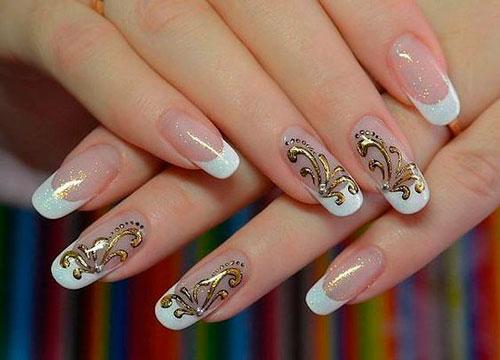 дизайн ногтей белый с золотым