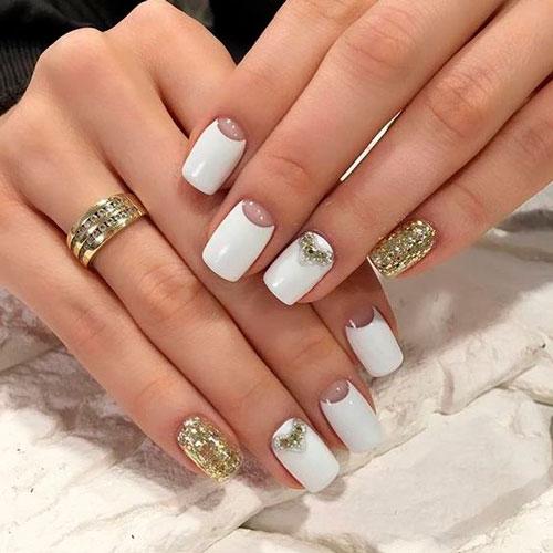 белый дизан ногтей с блестками 4