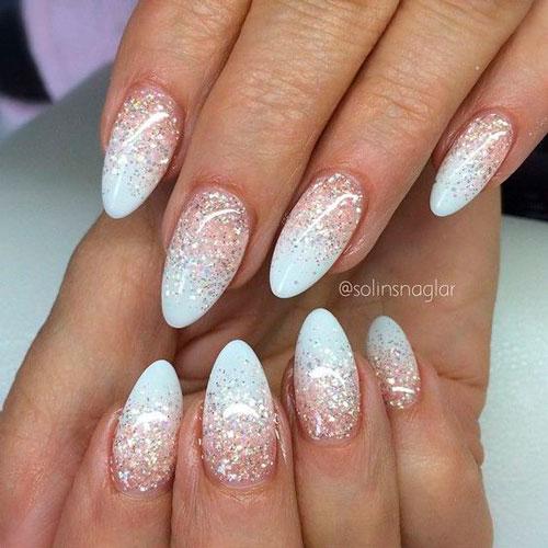 дизайн ногтей в белом цвете с розовым рисунком 5