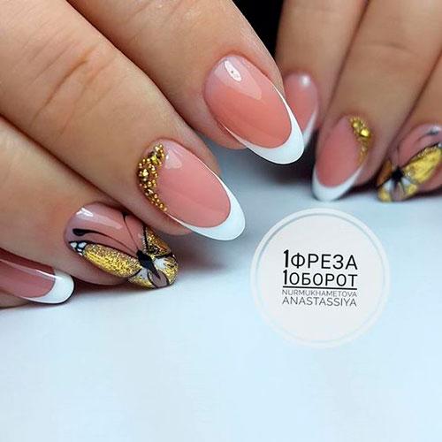 дизайн ногтей в белом цвете с рисунком 7