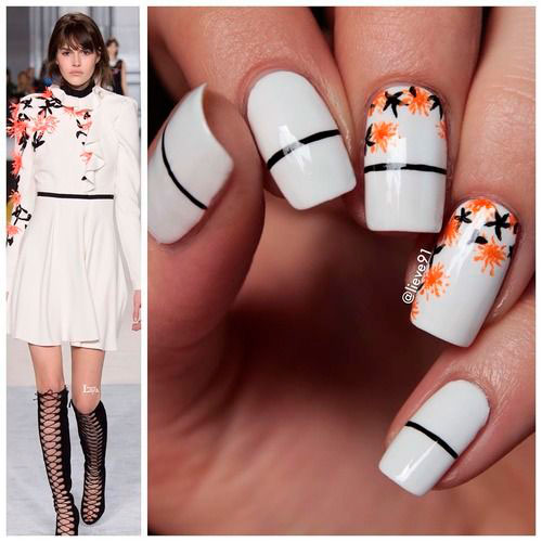 nail design in white color minimalism