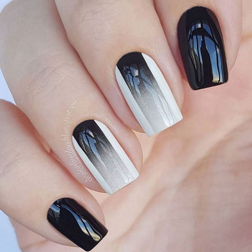 бело черный дизайн ногтей