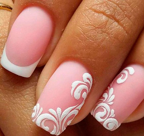 дизайн ногтей в белом цвете с рисунком 9