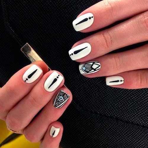 Dizan nail combination of black and white