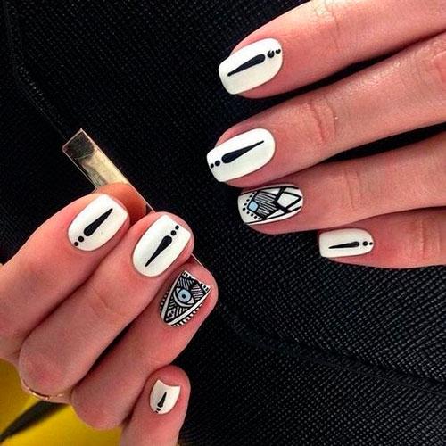 дизан ногтей сочетание черного и белого цвета