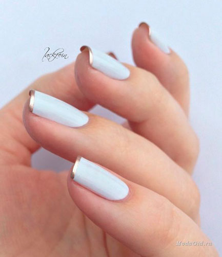 white with gold in nail design