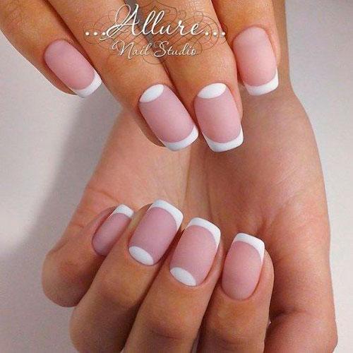 матовый дизан ногтей в белом цвете 2