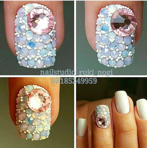 how to make nail design white with rhinestones
