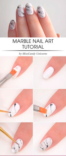 как сделать дизайн ногтей белый мрамор 2