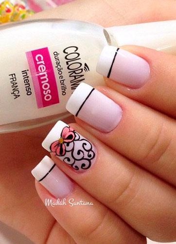 романтичный дизан ногтей в белом цвете для девушек
