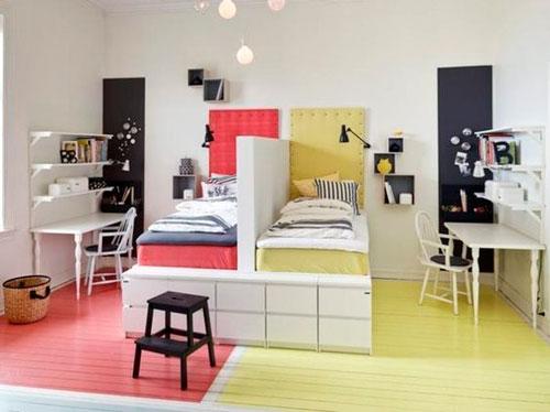 комната для двоих детей расположение мебели
