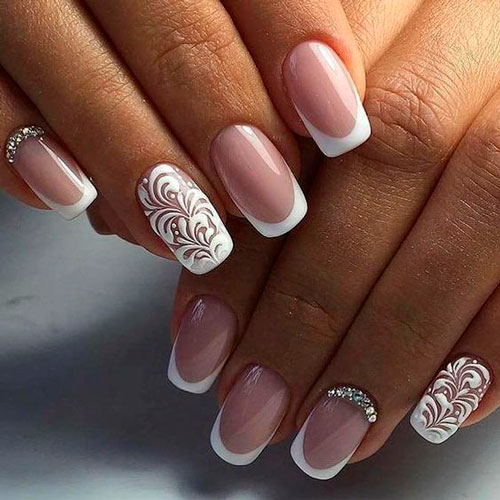French manicure in white color