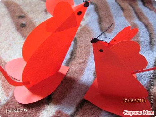 поделка мышка из бумаги ко дню святого Валентина