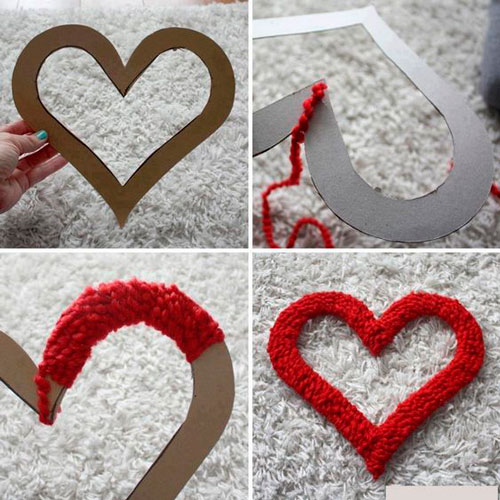 Поделка из картона и ниток на день святого Валентина