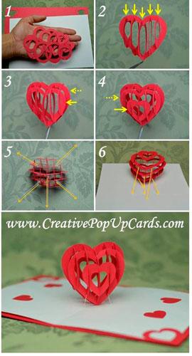 поделка объемное сердце для украшения дома на день святого валентина
