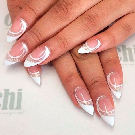 new nail design 2018: french on sharp 3