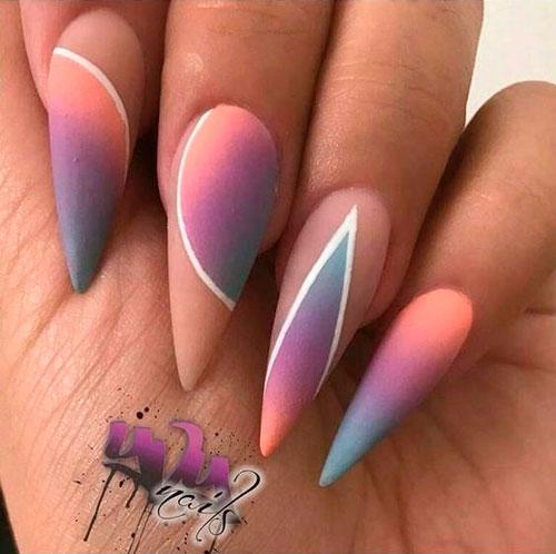 матовые острые ногти 2