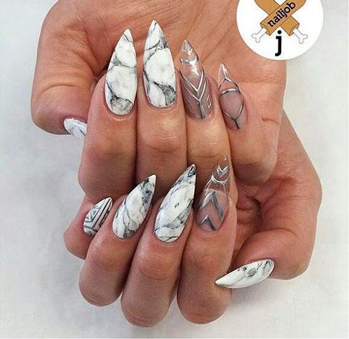 мраморный дизайн ногтей 2