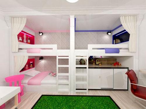 детская комната для двух девочек и одного мальчика