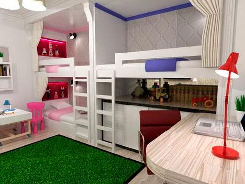 как расположить мебель в детской для трех детей 3