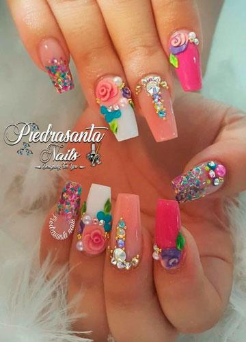 яркие ногти балерина с необычным дизайном