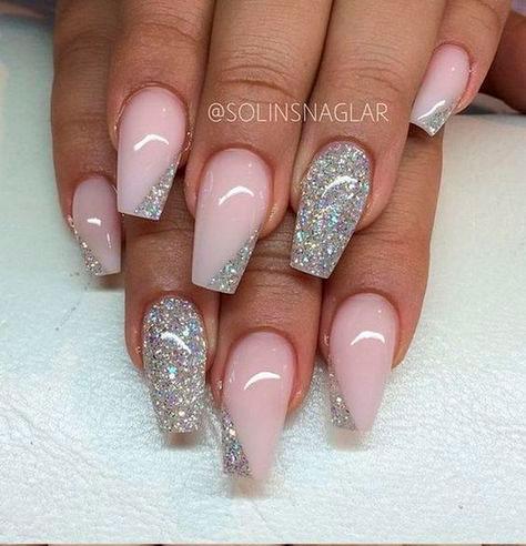 блестыщие ногти формы балерина