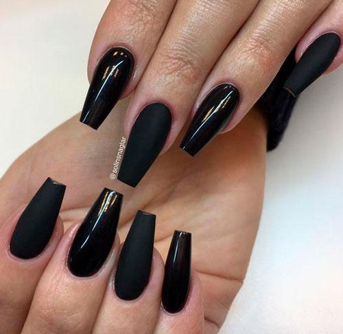 черные ногти формы балерина на Хэллоуин 2