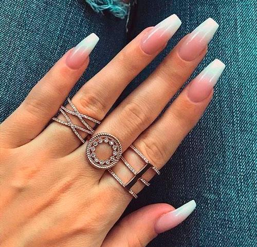 ногти формы балерина с покрытием градиент