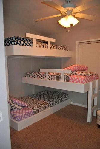 детская комната для троих детей в стиле минимализм