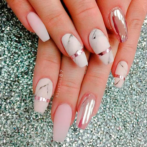 мраморное покрытие на ногтях балерина