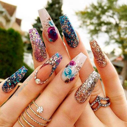 рисунки на ногтях формы балерина