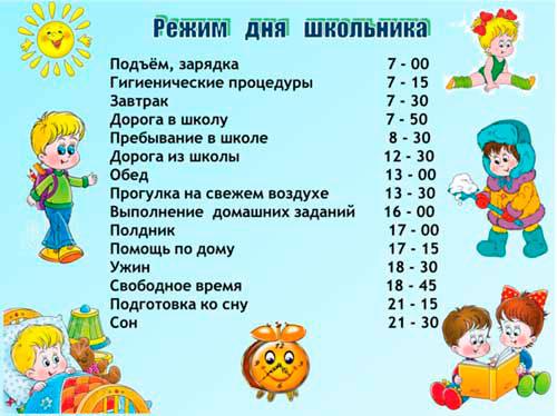 режим дня для школьника